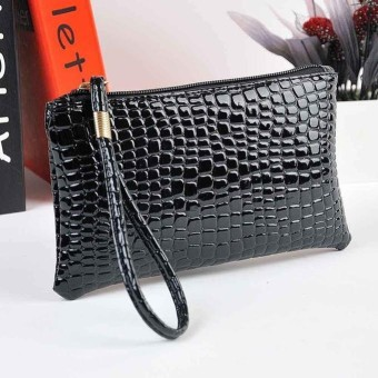 Women Crocodile Leather Clutch Handbag Bag Coin Purse BK - intl