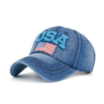 Wanita Pria USA Denim Berlian Buatan Topi Baseball Snapback Hip Hop Flat  Topi BU-Intl 89d11de48b