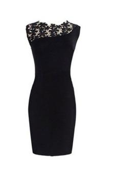 Womens Sexy Lace Front Sleeveless Bodycon Mini Party Wedding Dress (Black)