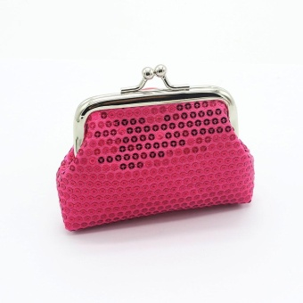 Womens Small Sequin Wallet Card Holder Coin Purse Clutch Handbag Bag - Hot Pink - intl