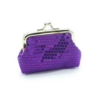 Womens Small Sequin Wallet Card Holder Coin Purse Clutch HandbagBag - Purple - intl