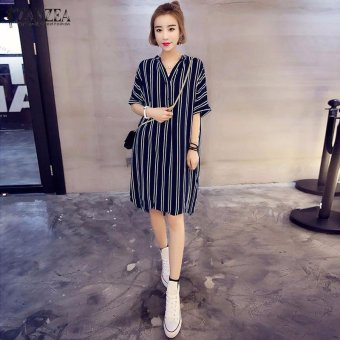 ZANZEA Hot Sale Women Summer Dress Sexy V-Neck Short Sleeve CasualLoose Striped Shirt Dress Mini Vestidos Plus Size (Blue) - intl