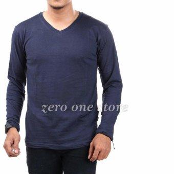 Zos Kaos T-Shirt Distro Atasan Pria Lengan Panjang V Neck Bisa Untuk Kaos Sablon