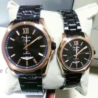 Alexandre Christie AC8473ML Jam Tangan Couple Stainless Steel Hitam Rosegold