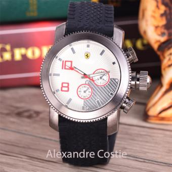 Alexandre Costie - Jam Tangan Pria - Body Silver - White Dial - Black Rubber Band