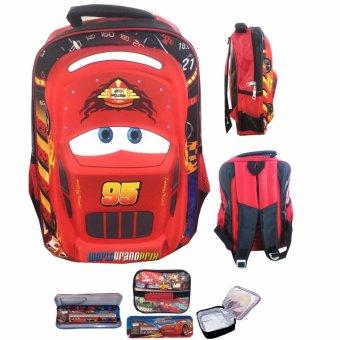 BGC Cars Lightning McQueen 3D Timbul Hard Cover Tas Ransel Sekolah Anak SD + Lunch Bag