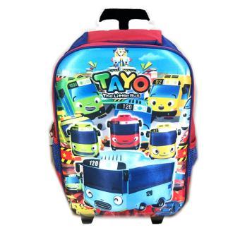BGC Tas Troley Sekolah Anak SD Tayo Bus And Friends 3D Timbul Hard Cover - Biru