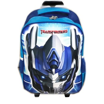BGC Tas Troley Sekolah Anak SD Transformer Optimus Prime 3D Timbul Hard Cover - Biru