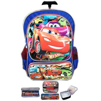 BGC Tas Troley Sekolah Anak TK Cars 3D Timbul Hard Cover + Lunch Bag ALuminium Tahan