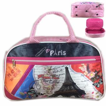 BGC Travel Bag Kanvas 2 Sleting Gliter Paris - Black Pink
