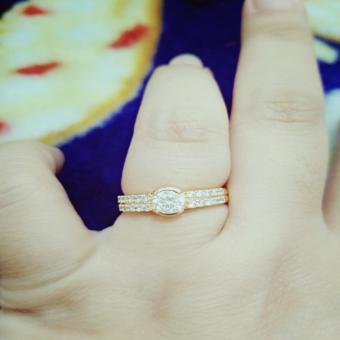 cincin 2baris permata cantik xuping
