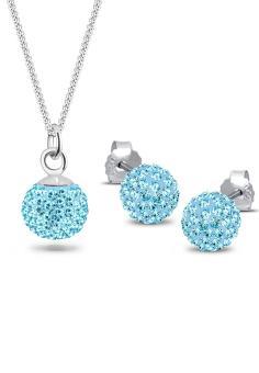 Elli Germany 925 Sterling Silver Perhiasan Set Sparkling Swarovski(R) Crystals Blue Biru Muda