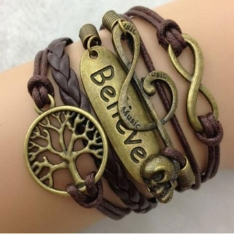 European Stylish Ladies Multi-layers Bracelet Retro Vintage Women Strap Bangle Bronze Pendant - intl