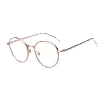 13227e81b48 Fashion Oval Glasses Blue Frame Glasses Plain For Myopia Women Source ·  Female Common Glasses Flat Circle Round Metal Sunglasses Rose Gold intl