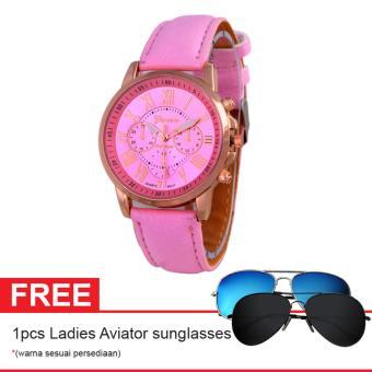 Geneva Leather Cecile Jam Tangan Wanita - Kulit - Pink - Geneva GNV LC 0990 Pink