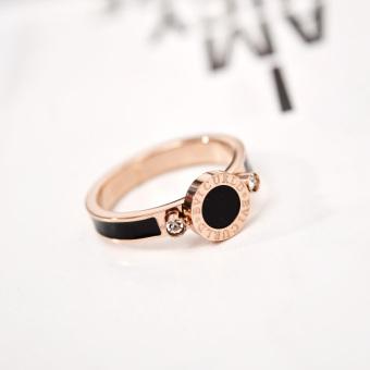 Han Jing hitam Jepang dan Korea Selatan titanium baja naik berlapis emas cincin melingkar cincin