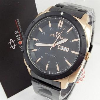 Hegner - Jam Tangan Formal Pria - Stainless Steel - HG 391 Black Gold