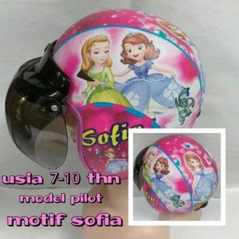 Helm Anak lucu usia 7 sampai 10 tahun Motif Pilot Sofia