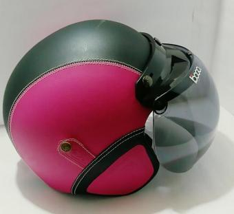 Helm Bogo Retro Klasik Pink Hitam Kaca Bogo Original