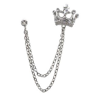 Harga Terbaru BolehDeals kristal berlian imitasi Crown dengan lapisan jaringan jumbai bros Pin kerah jas mantel