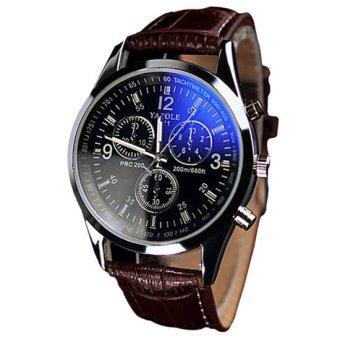 Yazole Jam Tangan Pria Quartz Kulit Analog Fashion Men Leather Wrist Watch