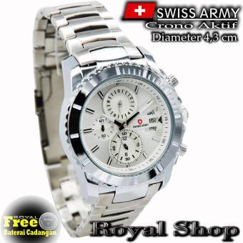 Jam Tangan Pria Swiss Army - SA2018RS - Crono Aktif - Strap Stainless Steel