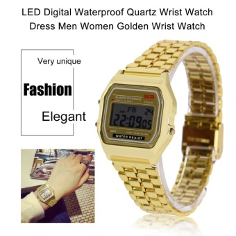 LED Digital Waterproof QUARTZ Wrist Watch Pria Berpakaian Wanita Golden Wrist Watch