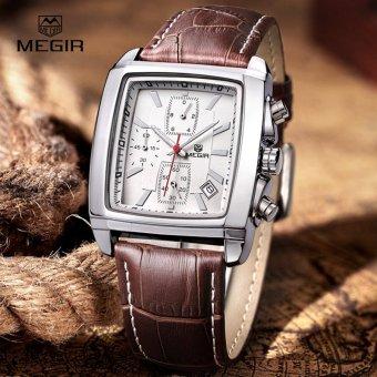 Megir Fashion Kasual Militer Chronograph QUARTZ Watch Pria Mewah Waterproof Analog Leather Wrist Watch 2028