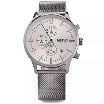 MEGIR Jam Tangan Pria Stainless Steel Mesh Watchband Business Wristwatch Excellent Quartz With Calendar and Sub