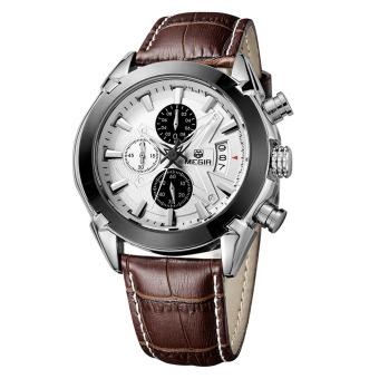Megir merek Fashion baru jam pria kulit asli Band 3 jam tangan Analog jam ekstra kecil