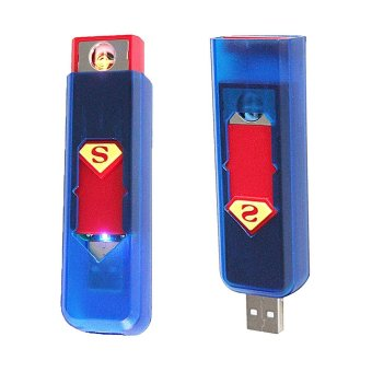 OHOME Decor Korek Api Lighter USB Anti Angin - Biru