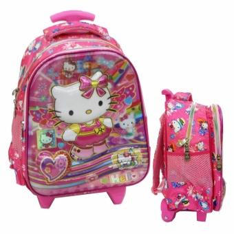 Onlan Tas Trolley Anak Perempuan Motif 5D Timbul Ukuran Sekolah TK Import - Pink