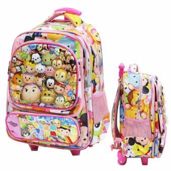 Onlan Tas Trolley Anak Sekolah SD Tsum Tsum 6D Timbul Ukuran 4 Kantung Besar Import -