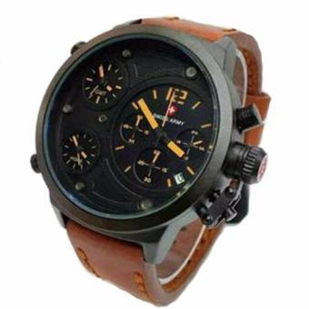 Original Swiss Army SA7654 M Jam tangan Pria Tali Kulit Premium Leather Strap