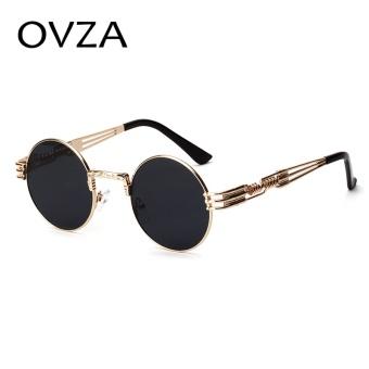 OVZA Steampunk Sunglasses Men Round Vintage Wanita Kacamata Hitam Merek 2017 Punk Gaya Gothic Kacamata Fashion