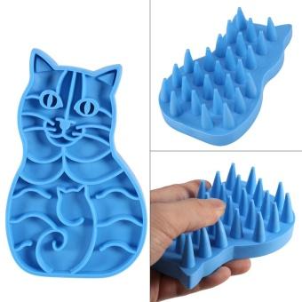 Anjing Peliharaan Anak Kucing Sisir Mandi Kuas Sisir Grooming Pembersih Alat (Biru)-Intl