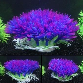 Ungu Akuatik Aquarium Ornament Tanaman Tangki Ikan Dekorasi Rumah Underbrush-Intl