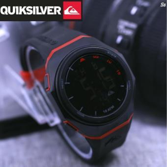 Quik__silver digital tali Rubber fitur tanggal hari bulan alarm stopwatt free Baterai cadangan
