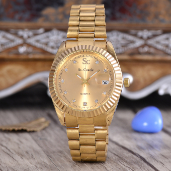 Saint Costie Jam Tangan Pria - Body Gold - Gold Dial - Gold Stainless Stell Band