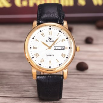 Saint Costie - Jam Tangan Pria - Body Gold - White Dial - Black Leather Band