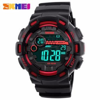SKMEI Laser Hitam Merah - Jam Tangan Pria - Strap Karet - 1243 Sport Black Red