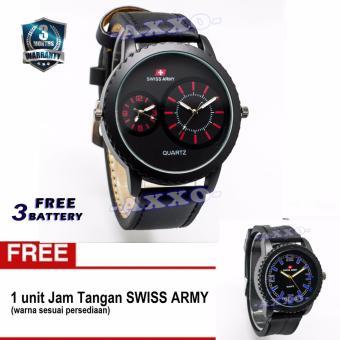 Swiss Army BOGOF SA 0066 Dual Analog - Jam Tangan Pria - Kulit Hitam Variasi Merah