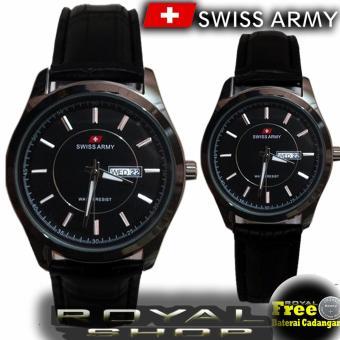 Swiss Army Couple - Jam Tangan Pasangan - Tali Kulit - Hitam - SA100RS