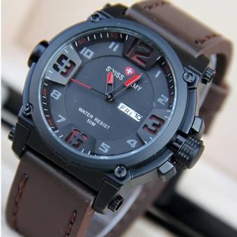 Swiss Army Jam Tangan Pria - Leather Strap - sa 7169 coklat