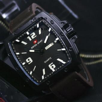 Swiss Army original Jam Tangan Pria Darkbrown Leather Strap - SA28S33A