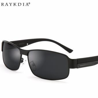 VEITHDIA 8485 Pria Merek Designer Sunglasses Polarized Aluminium UV400 Bingkai Hitam Abu-abu Lensa untuk