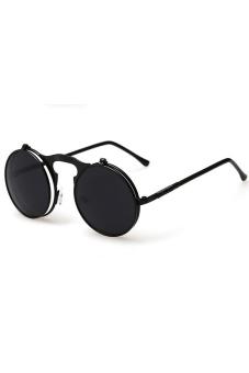 Pria wanita vintage kacamata bulat Steampunk logam membalik ke atas lensa kacamata hitam Eyewear (Hitam