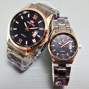 wiss Time/Army - Jam Tangan Couple Stainless Steel SA 1322 JJ BLACK GOLD