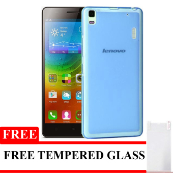 Best Seller Aircase Ultrathin For Lenovo A7000 + Tempered Glass - Biru Clear