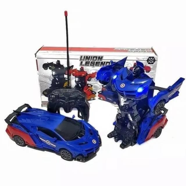 Rc Mobil Remot Robot Transformer Union Legend Deformation Car Captain America / mainan remote control /